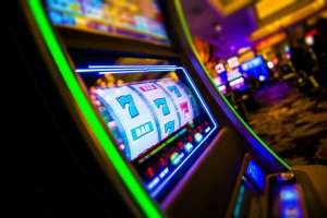 Casino Slot Machines. Las Vegas Strip Digital Slot Machine Closeup. Sin City Gabling. Las Vegas, United States.